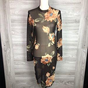 Charlotte Russe Floral Sheer Dress Size M